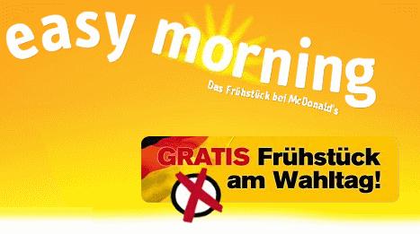Gratis Frühstück bei Mc Donalds am Wahltag 27.09. *UPDATE* Gutschein online