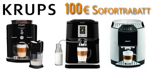 Amazon: 100 € Sofortrabatt auf ausgewählte Kaffe-Vollautomaten von Krups