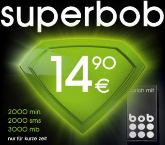 superbob - 2.000 Minuten, 2.000 SMS & 3 GB für 14,90 € im Monat