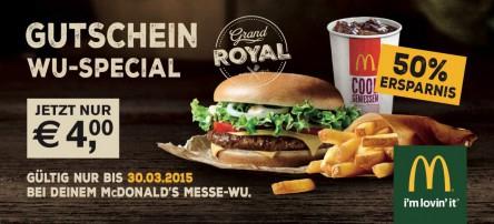 (Lokal) Grand Royal McMenü für 4€ beim McDonalds Messe-Prater in Wien - 50% sparen
