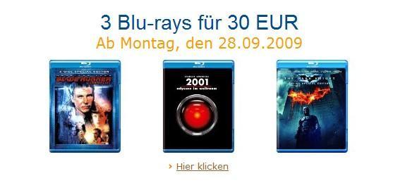 3 Blu-Rays für 30€ ab 28.9. @Amazon.de