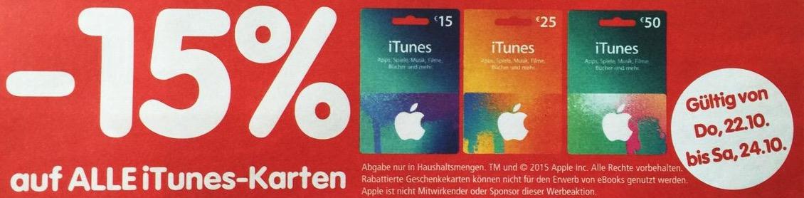 Interspar: 15% Rabatt auf alle iTunes Karten (bis 24.10.2015)