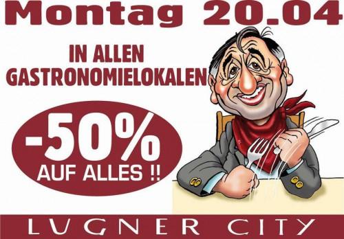 Lugner City: 50% Rabatt in allen Gastronomielokalen - nur heute, 20.4.2015
