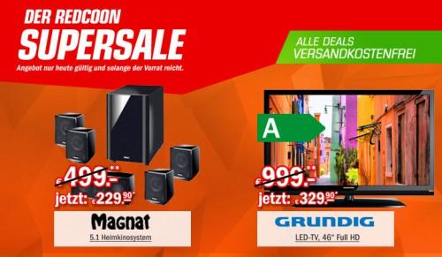 Redcoon Supersale am 20. April 2015 - u.a. mit: Grundig 46 VLE 830 46 Zoll Full-HD Fernseher für 329,90€