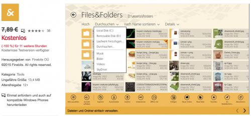 """Files & Folders Pro"" Dateimanager f Windows (Phone) 8.1 völlig kostenlos - 7,89 € sparen"