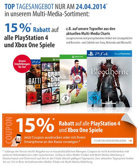 Müller: 15% Rabatt auf alle PlayStation 4 und Xbox One Spiele - Nur am 24. April