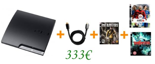 PS3 Slim 250GB inkl. HDMI-Kabel und 3 Spielen für 333€ bei Amazon.co.uk