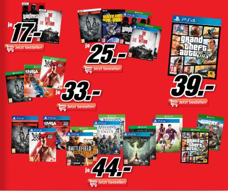 Media Markt - div. Konsolen & PC Spiele ab 17€ - u.a. mit: GTA 5 (PS4) für 39€