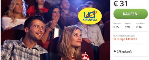 5 UCI Kino-Gutscheine inkl Überlange um 31 € - bis zu 52% sparen