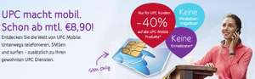 UPC Mobile - 40% Rabatt auf alle Tarife für UPC Kunden - bis 30.4.2015