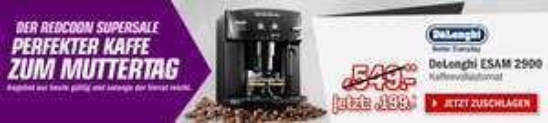 Redcoon Supersale am 1. Mai 2015 - mit: DeLonghi ESAM 2900 Kaffee-Vollautomat für 199€