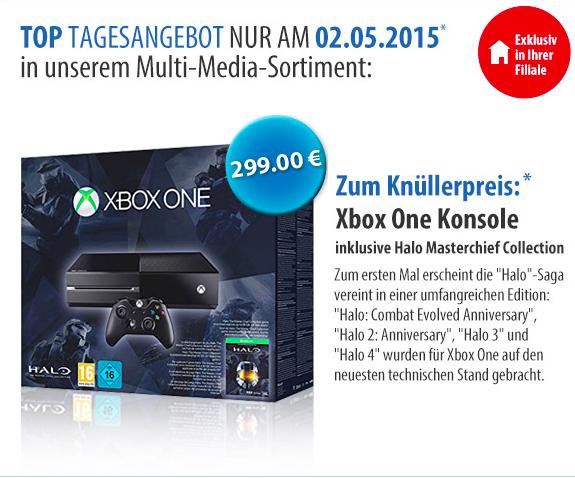 Müller: Microsoft Xbox One (500GB) Halo: The Master Chief Collection Bundle für 299€ - Nur am 2. Mai