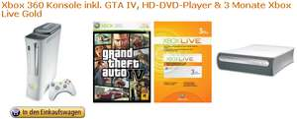 [X360] XBox 360 inkl. GRATIS: GTA IV, HD-DVD-LW und 3 Monate Live Gold!