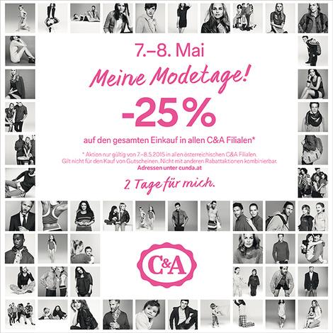 C&A: 25% Rabatt auf den kompletten Einkauf - Nur am 7. und 8. Mai