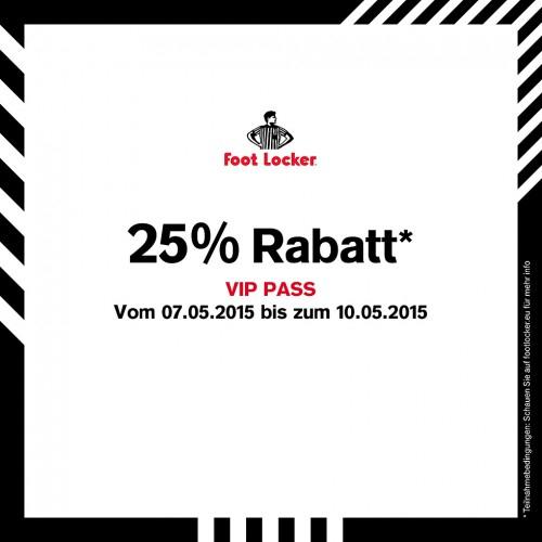 Foot Locker: 25% Rabatt auf den kompletten Einkauf - Nur bis zum 10. Mai