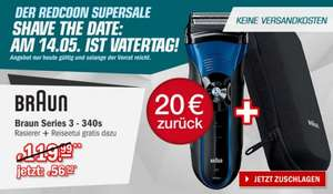 Redcoon Supersale am 8. Mai 2015 - Braun Series 3 - 340s Wet & Dry Akkurasierer für 56,90€