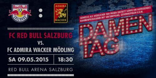 """Gratis Eintritt für alle Damen zu """"FC Red Bull Salzburg : FC Admira Wacker"""" am 9.5.2015"""