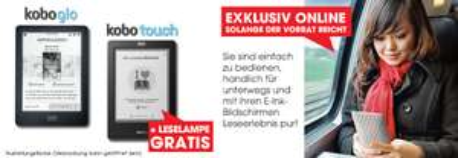 Libro: Kobo Glo für 34,99€- Kobo Touch für 24,99€ - Ersparnis von bis zu 72%!
