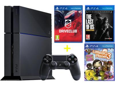 "PlayStation 4 + ""Driveclub"" + ""The Last Of Us"" + ""Little Big Planet 3"" um 399 € - bis zu 16% sparen"