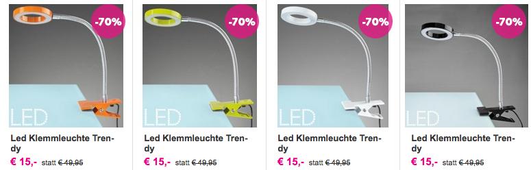"""1+1 Gratis - """"Trendy"""" LED-Klemmleuchten um 15 €"""