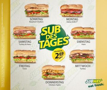 """Subway Österreich: täglich """"Sub des Tages"""" um 2,69 €"""