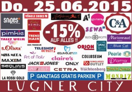 Lugner City - 15% auf Alles / ganztags gratis Parken / nur am 25.6.2015