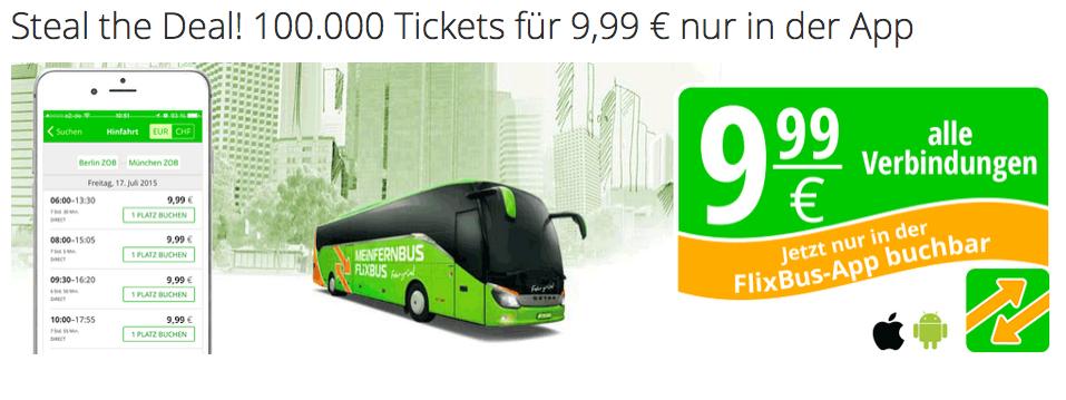 FlixBus: 100.000 Tickets um 9,99 € - nur in der App (gültig bis 27.6.2015 für Fahrten vom 29.6. bis 30.7.2015)