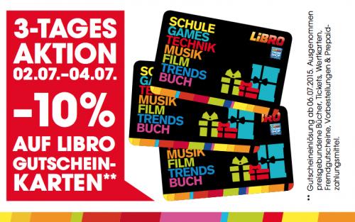 Libro: 10% Rabatt auf alle Gutscheinkarten - Nur vom 2. bis zum 4. Juli 2015