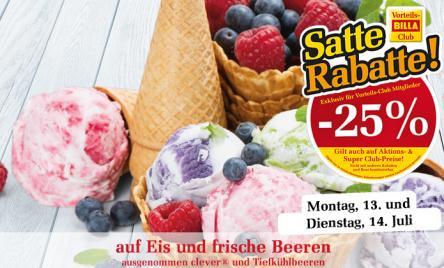 Billa: 25% Rabatt auf Eis und frische Beeren