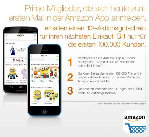 Amazon Prime Day - 10€Gutschein (50€ MBW) für die erste Anmeldung in der Amazon App!