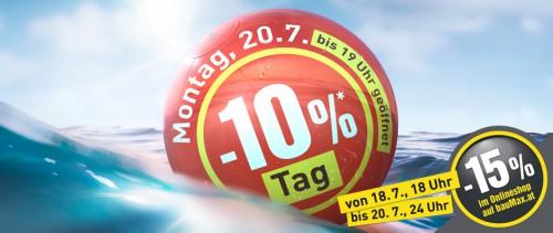 bauMax: -15% Rabatt im Online-Shop / 10% im Markt - Ab dem 18. Juli