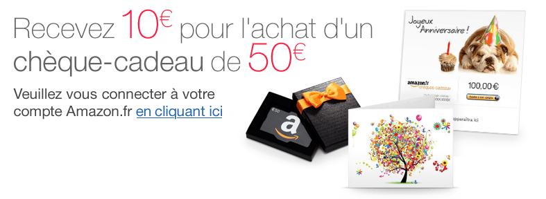 [Amazon.fr] 10€ Gutschein beim Kauf eines 50€ Gutscheins ( teilnahmeberechtigte Kunden)