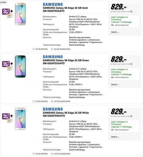 """[TOP] Samsung S6 Edge (32, 64 oder 128 GB!!!) um 829 € + Samsung """"WAM6500"""" (Wert 349 €) gratis dazu"""