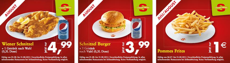 """Schnitzelhaus """"Super Spar Wochen"""" + 1 € Gutschein - bis 31.8.2015"""
