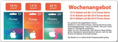 Müller: Bis zu 20% Rabatt auf iTunes Karten - Vom 23. bis zum 29. September