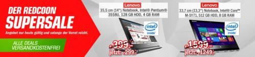 Redcoon Supersale am 7. August 2015 – u.a. mit: Lenovo Yoga 3 Pro Convertible Notebook für 1249€