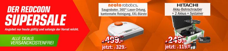Redcoon Supersale am 12. August 2015 – u.a. mit: Neato 945-0108 BotVac 70e Staubsaugerroboter für 329€