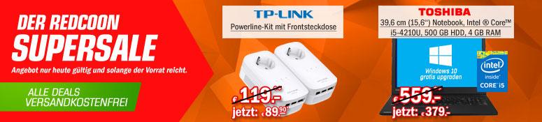 Redcoon Supersale am 17. August 2015 – u.a. mit: TP-LINK AV1200 Powerline-Netzwerkadapter für 89,90€