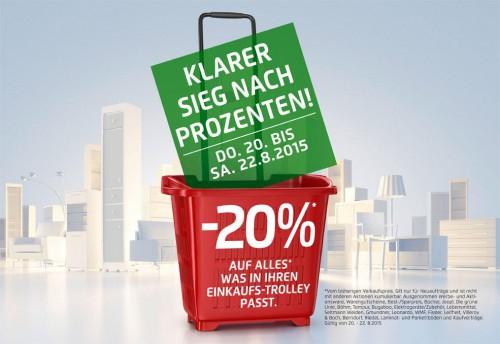 Kika / Leiner: 20% Rabatt auf alles was in den Einkaufs-Trolley passt - Nur vom 20. - 22. August
