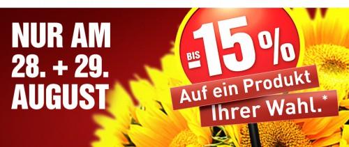 Baumax: Bis zu 15% Rabatt auf ein Produkt deiner Wahl - Nur am 28. und 29. August
