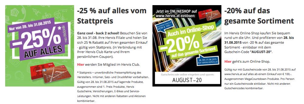 Hervis Sports: 25% auf den gesamten Einkauf (lokal + online)