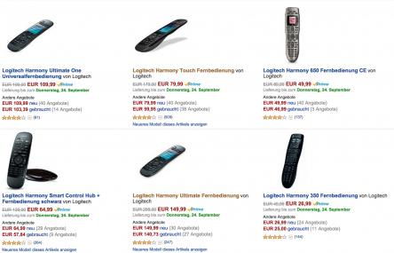 Logitech Harmony Fernbedienungen reduziert @Amazon.de