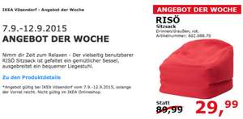 IKEA Wien Vösendorf: Risö Sitzsack um 29,99 € - 67% sparen