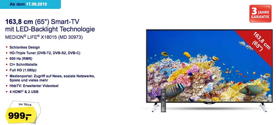 "[Hofer] Medion Smart TV (65"" FullHD, Triple Tuner, WLAN, BT, 600Hz) um 999 € inkl Versand - bis zu 41% sparen"