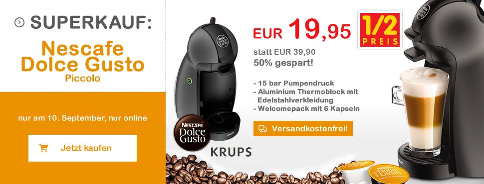 Interspar: Krups KP100B Nescafé Dolce Gusto Piccolo Kapselmaschine für 19,95€