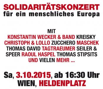 """""""Voices for Refugees"""": Solidaritätskonzert für Flüchtlinge am Wiener Heldenplatz am 3.10.2015"""