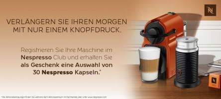 [Nespresso] Neue Maschine + 50 Kapseln kaufen und 30 Kapseln gratis abstauben!