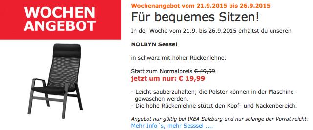 "IKEA Salzburg: ""Nolbyn"" Sessel um 19,99 € - 60% sparen"