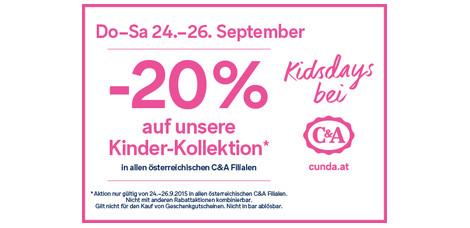 C&A: 20% Rabatt auf die komplette Kinderkollektion - Nur vom 24. - 26. September