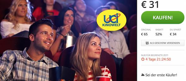 5 UCI Kino-Gutscheine inkl Überlänge um 31 € - bis zu 52% sparen